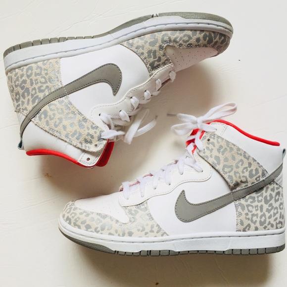 Rugido Arquitectura estante  Nike Shoes | Nike Dump White And Coral Leopard Print High Tops | Poshmark